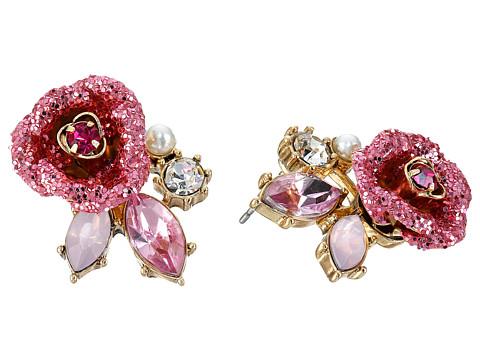Betsey Johnson Glitter Rose Stud Earrings - Pink