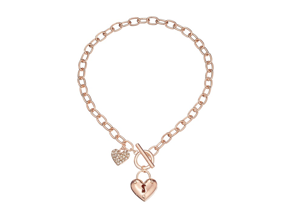 GUESS - Puffy Heart Toggle Necklace (Rose Gold) Necklace