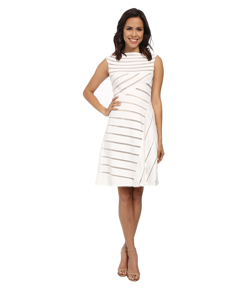 Adrianna Papell Banded Flared Dress White Womens Dress