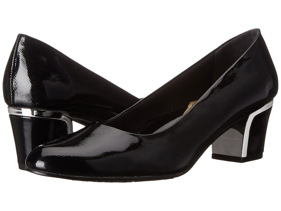 Soft Style Deanna (Black Cross Hatch Patent/Silver) 1-2 inch heel Shoes