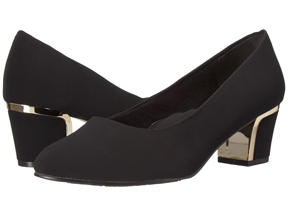 Soft Style - Deanna (Black Lamy/Gold) Women's 1-2 inch heel Shoes, wide width