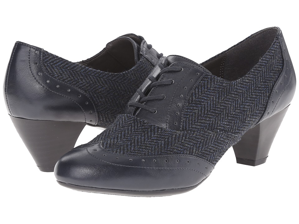 Soft Style - Georgette Navy Speckled HerringboneVitello Womens 1-2 inch heel Shoes $59.00 AT vintagedancer.com