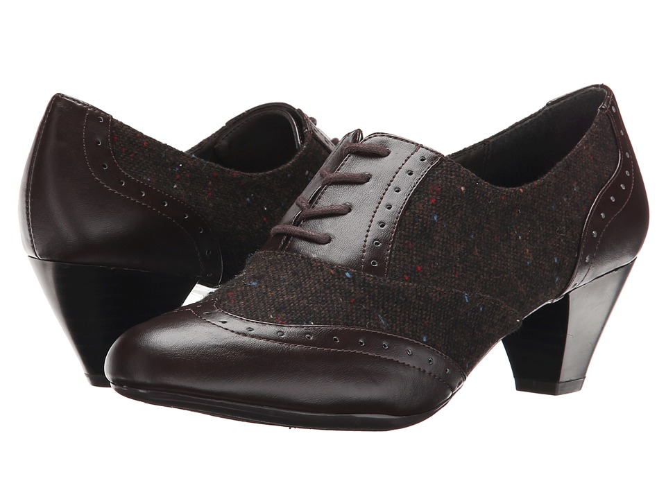 Soft Style - Georgette Dark Brown Speckled TweedVitello Womens 1-2 inch heel Shoes $59.00 AT vintagedancer.com