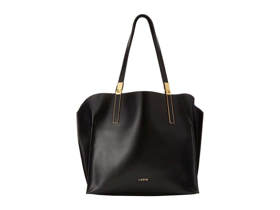 Lodis Accessories - Blair Unlined Anita East West Tote (Black/Cobalt) Satchel Handbags