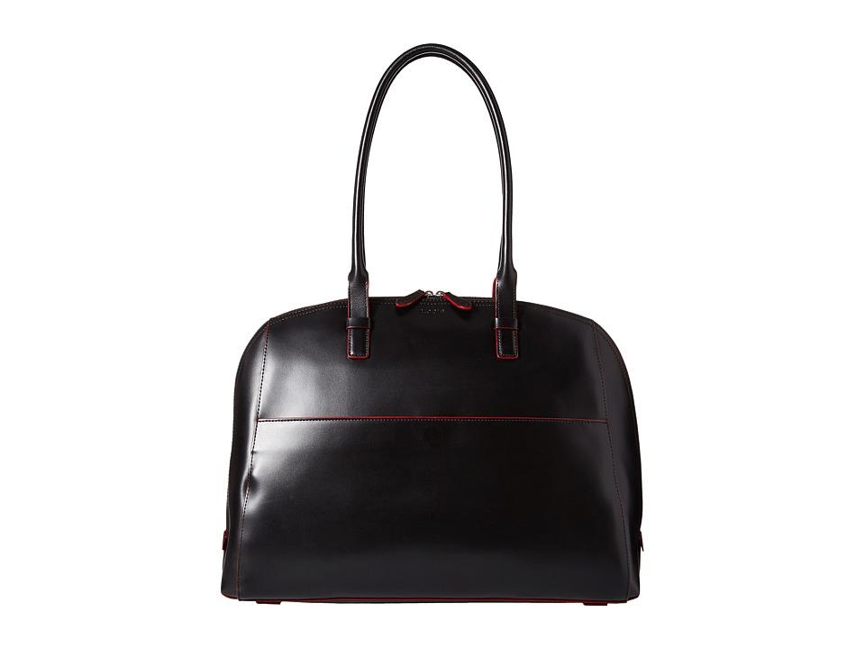 Lodis Accessories Audrey Buffy Brief Satchel Black/Red Satchel Handbags