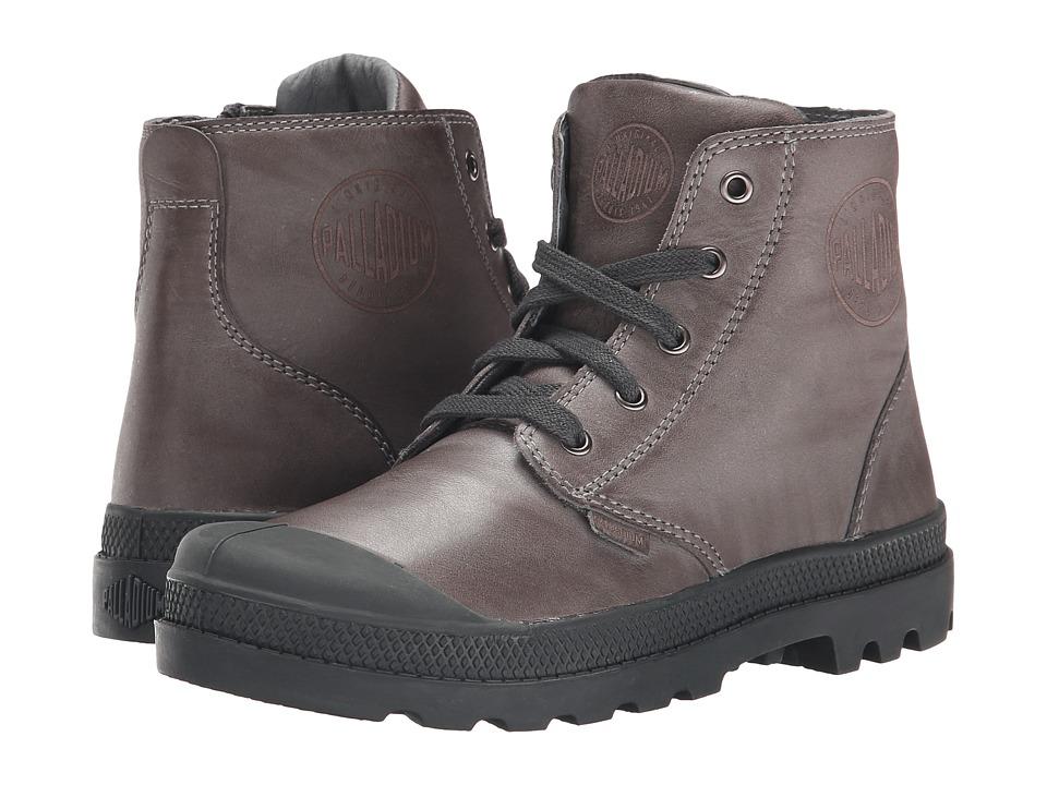 Palladium Kids Pampa Hi Leather Zip Little Kid Castlerock/Pirate Black Boys Shoes