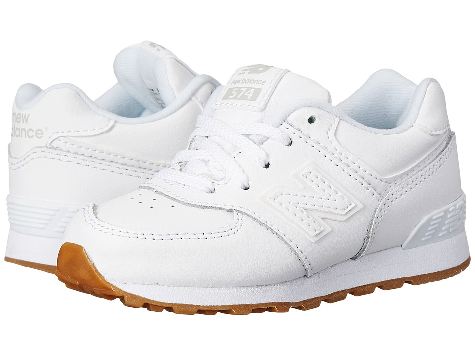 New Balance Kids 574 Leather Infant/Toddler White/Gum Kids Shoes