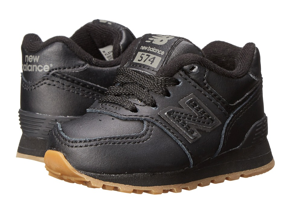 New Balance Kids 574 Leather Infant/Toddler Black/Gum Kids Shoes
