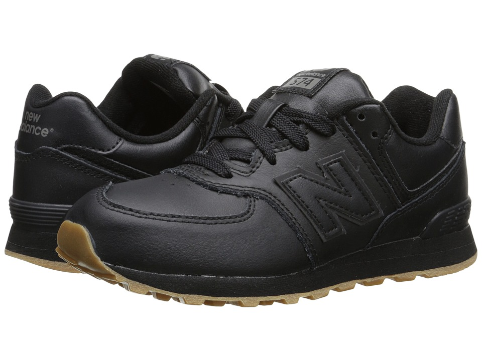 New Balance Kids 574 Leather Little Kid Black/Gum Kids Shoes