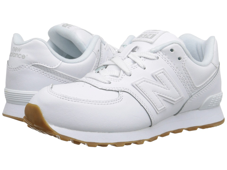 New Balance Kids 574 Leather Little Kid White/Gum Kids Shoes