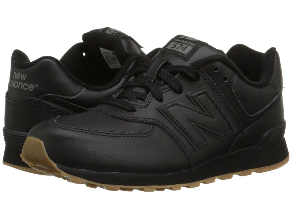 New Balance Kids 574 Leather Big Kid Black/Gum Kids Shoes