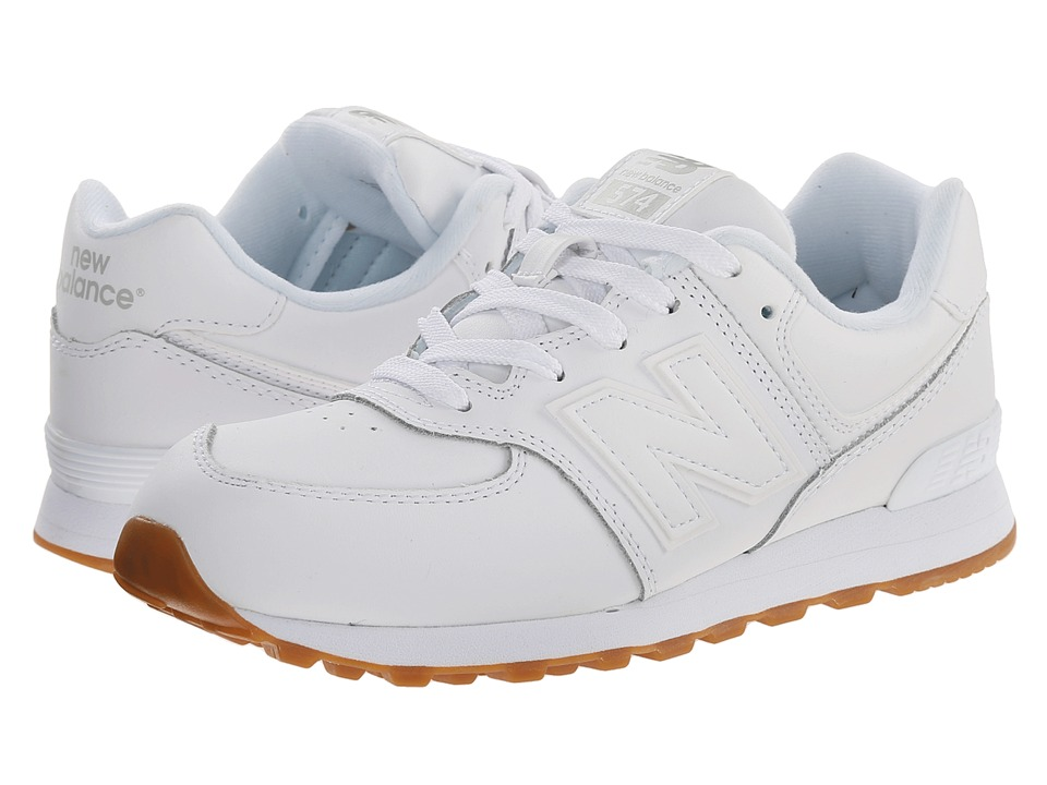 New Balance Kids 574 Leather Big Kid White/Gum Kids Shoes