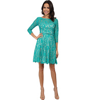 Eliza J - Long Sleeve Lace Fit & Flare Dress w/ Pleated Skirt