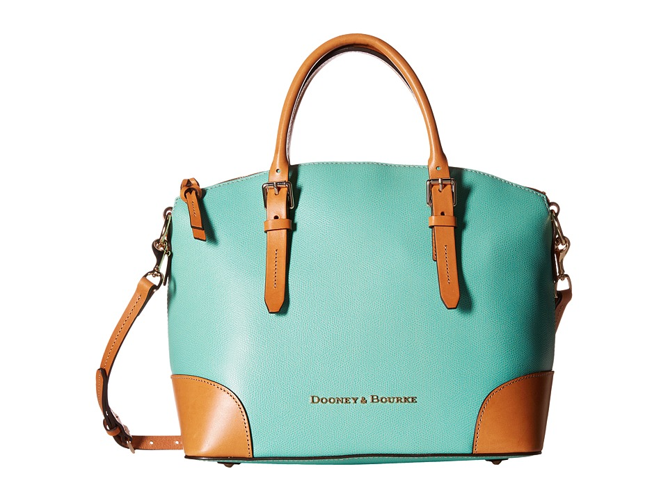 Dooney amp Bourke Claremont Domed Satchel Seafoam w/ Butterscotch Trim Satchel Handbags