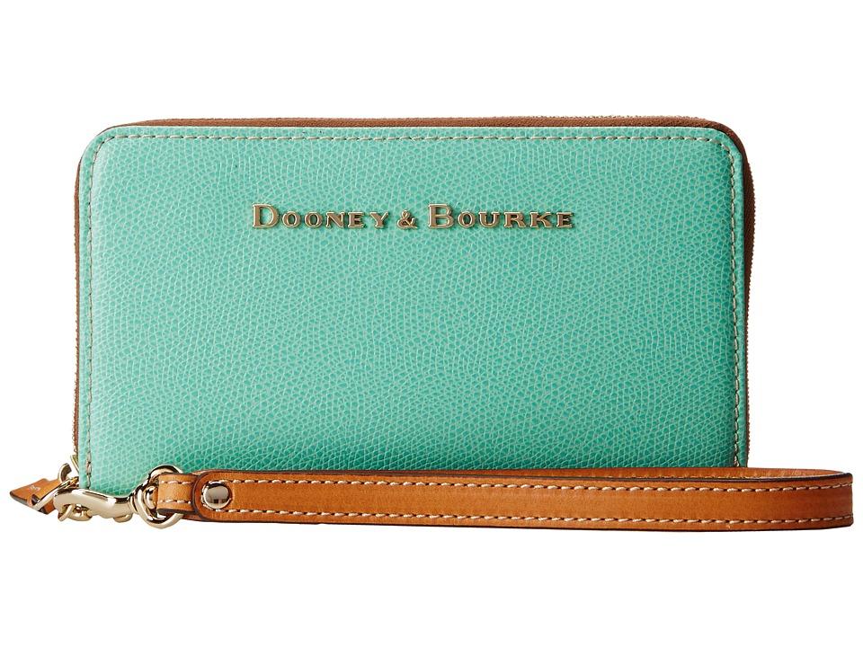Dooney & Bourke - Claremont Zip Around Credit Card Phone Wristlet (Seafoam w/ Butterscotch Trim) Wristlet Handbags