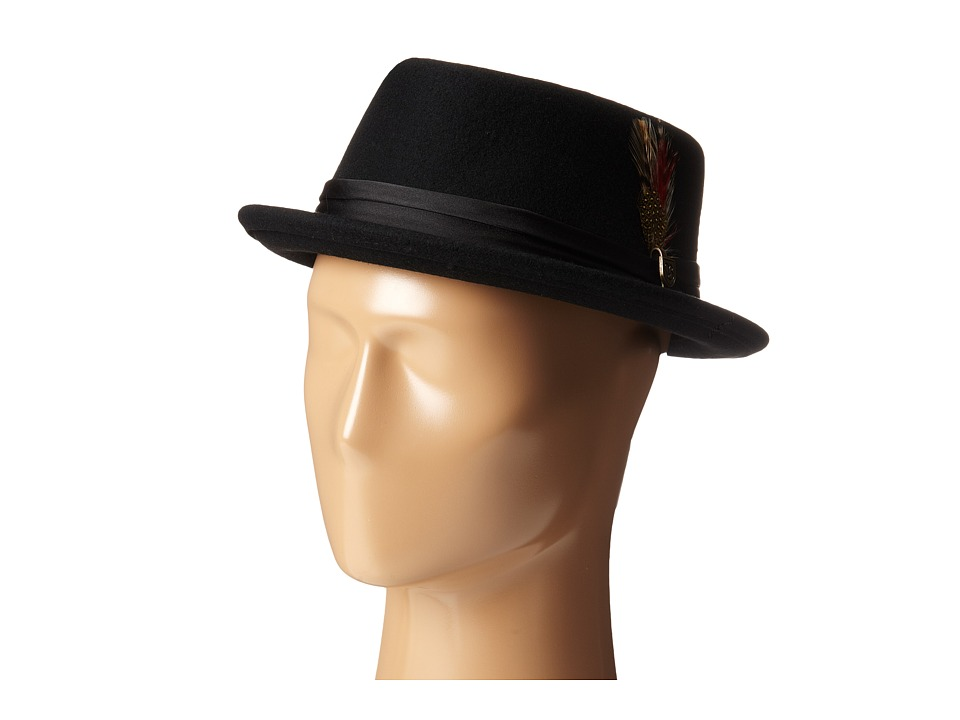 1960s Style Men's Clothing, 70s Men's Fashion Brixton - Stout Pork Pie Hat BlackBlack Traditional Hats $54.00 AT vintagedancer.com