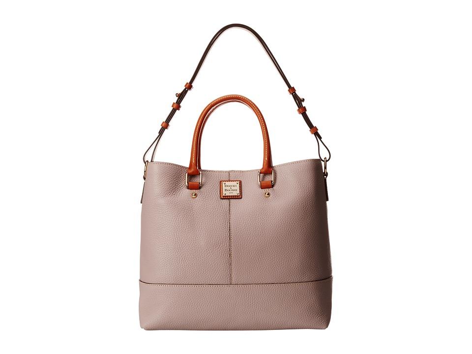 Dooney amp Bourke Pebble Leather Chelsea Shopper Oyster w/ Tan Trim Tote Handbags