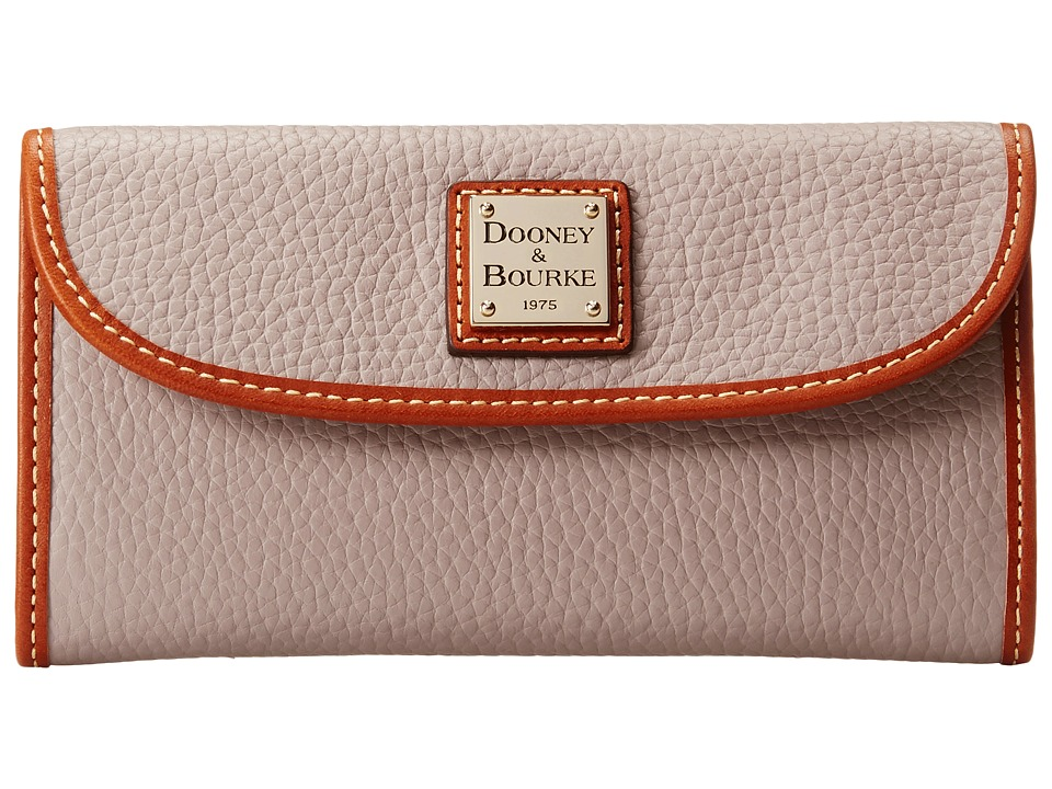 Dooney & Bourke - Pebble Leather New SLGS Continental Clutch (Oyster w/ Tan Trim) Clutch Handbags