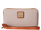 Dooney & Bourke Pebble Leather New SLGS Zip Around Credit Card Phone Wristlet