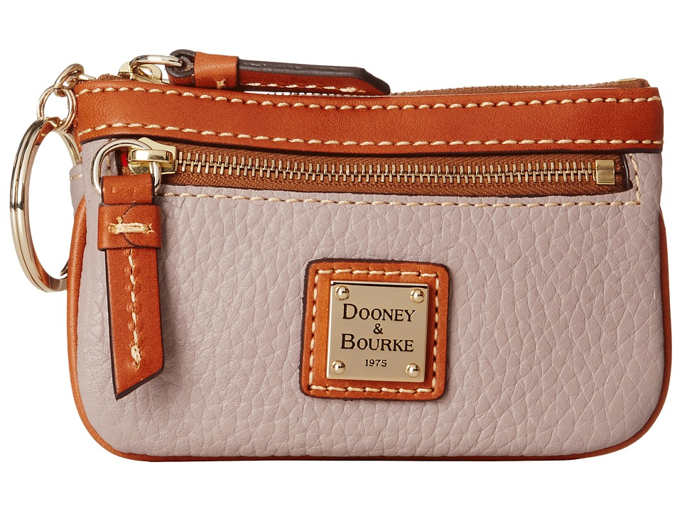 Dooney amp Bourke Pebble Small Coin Case Oyster w/ Tan Trim Coin Purse