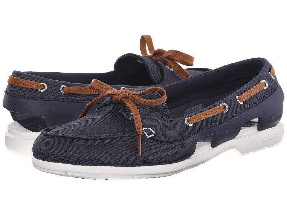 Crocs - Beach Line Hybrid Boat Shoe (Navy/White) Women's  Shoes