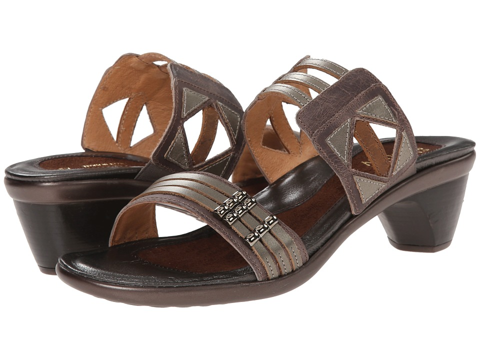 Naot Footwear Afrodita Gray Haze Leather/Pewter Leather/Saddle Brown Leather Womens Sandals