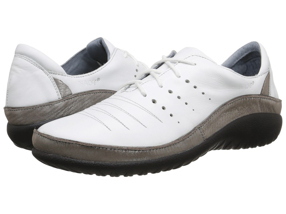 Naot Footwear Kumara (White Leather/Silver Threads Leather) Women's Shoes