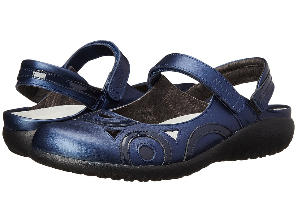 Naot Footwear Rongo (Polar Sea Leather/Navy Patent Leather) Women's Hook and Loop Shoes