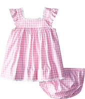 Oscar de la Renta Childrenswear - Check Cotton Frill Sleeve Dress (Infant)
