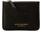 Scotch & Soda Leather Credit Card Holder with Zip (Black)