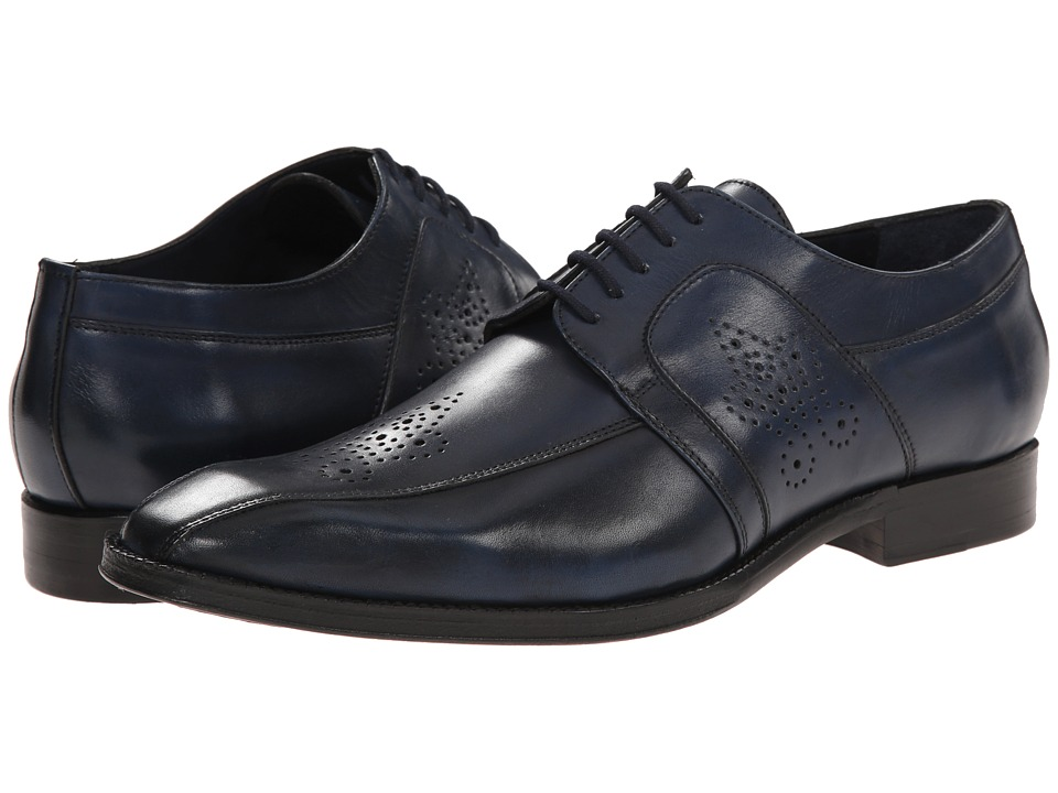 Messico Cristiano Navy Leather Mens Dress Flat Shoes