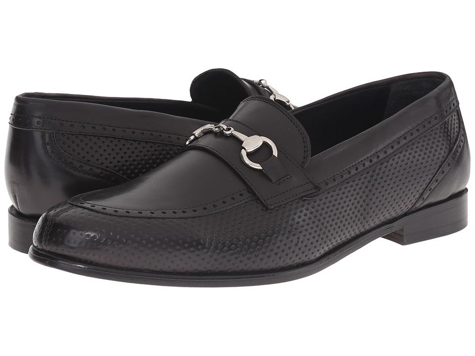 Messico Josue Black Leather Mens Dress Flat Shoes