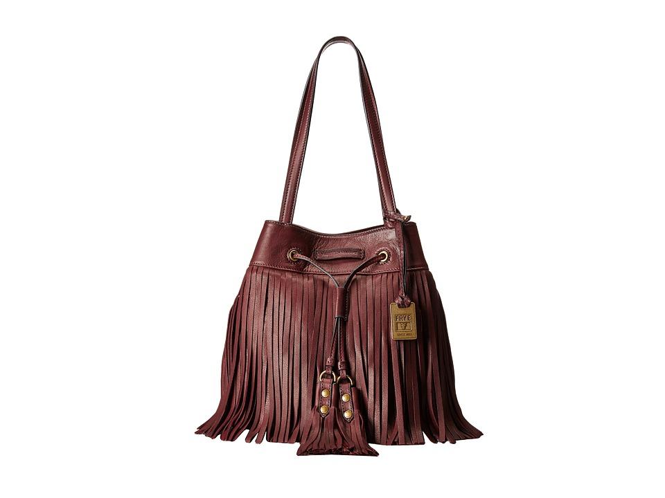 Frye - Heidi Fringe Bucket (Plum Soft Vintage Leather) Shoulder Handbags