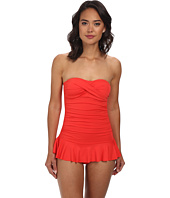 LAUREN by Ralph Lauren - Laguna Solids Twist Shirred Skirted Slimming Fit One-Piece