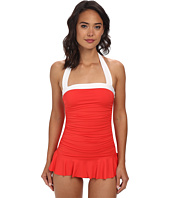 LAUREN by Ralph Lauren - Bel Aire Solids Shirred Bandeau Skirted Mio Slimming Fit One-Piece