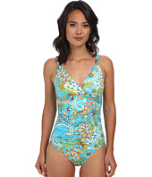 LAUREN Ralph Lauren - Maldives Paisley Shirred Surplice Underwire Mio Slimming Fit One-Piece