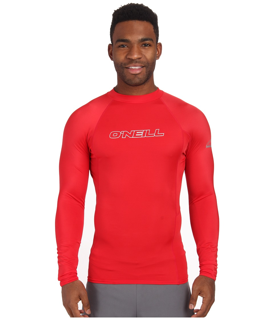 ONeill Basic Skins L/S Crew Red Mens Swimwear