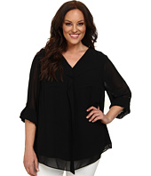 Calvin Klein Plus - Plus Size Long Sleeve Ruffle Front Top