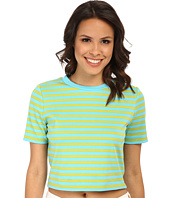 MICHAEL Michael Kors - Short Sleeve Stripe Printed Crop Top