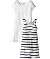 Junior Gaultier - Striped Tank Dress with Pierced Overlay Dress (Big Kid)