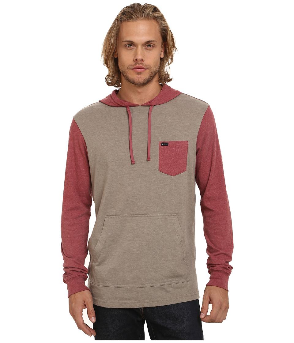 RVCA Set Up Hood Dark Khaki Mens Sweatshirt