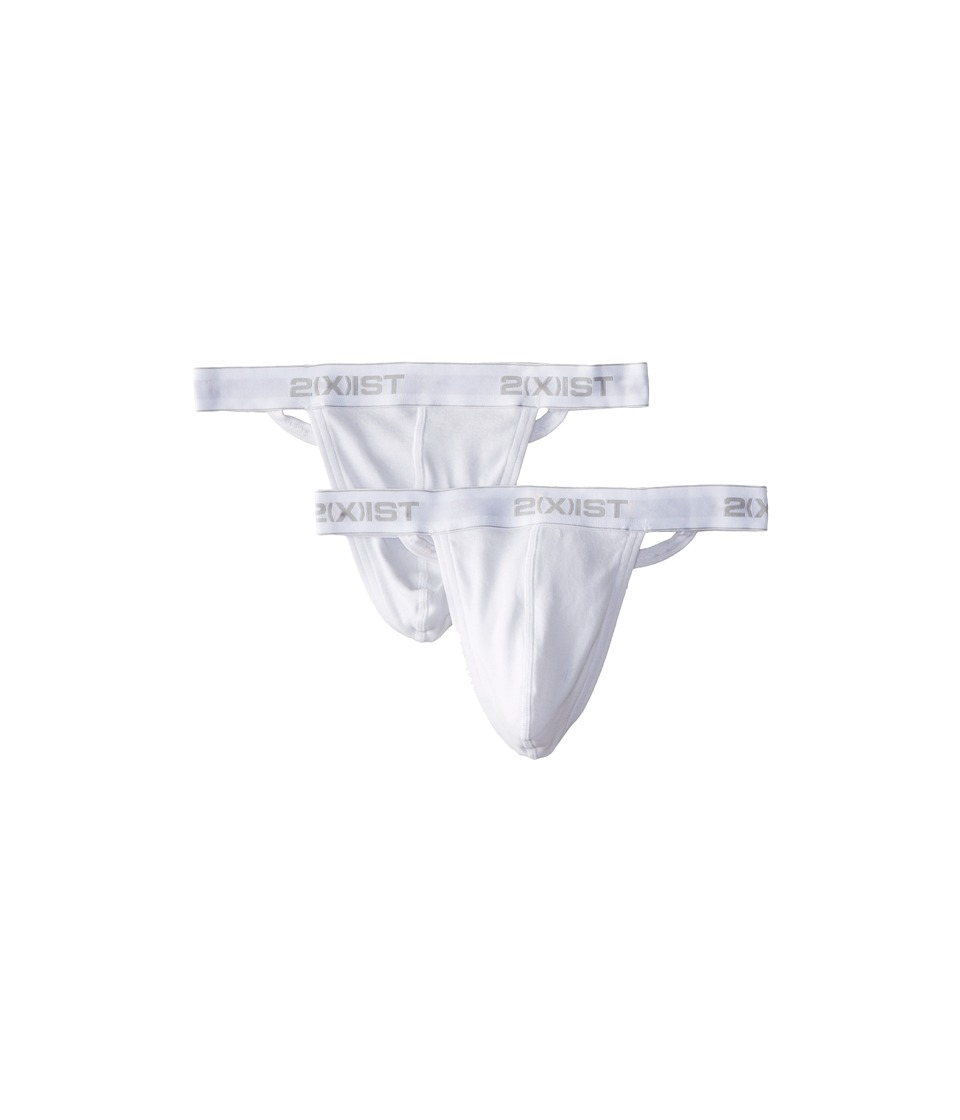 2XIST 2 Pack Essential Thong White Mens Underwear