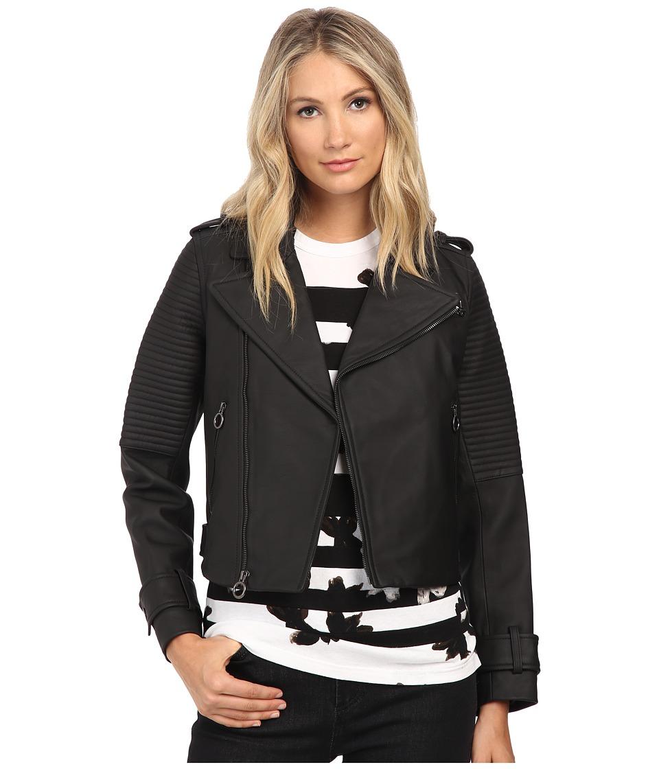 Marc by Marc Jacobs Matte Biker Leather Jacket Black Womens Coat