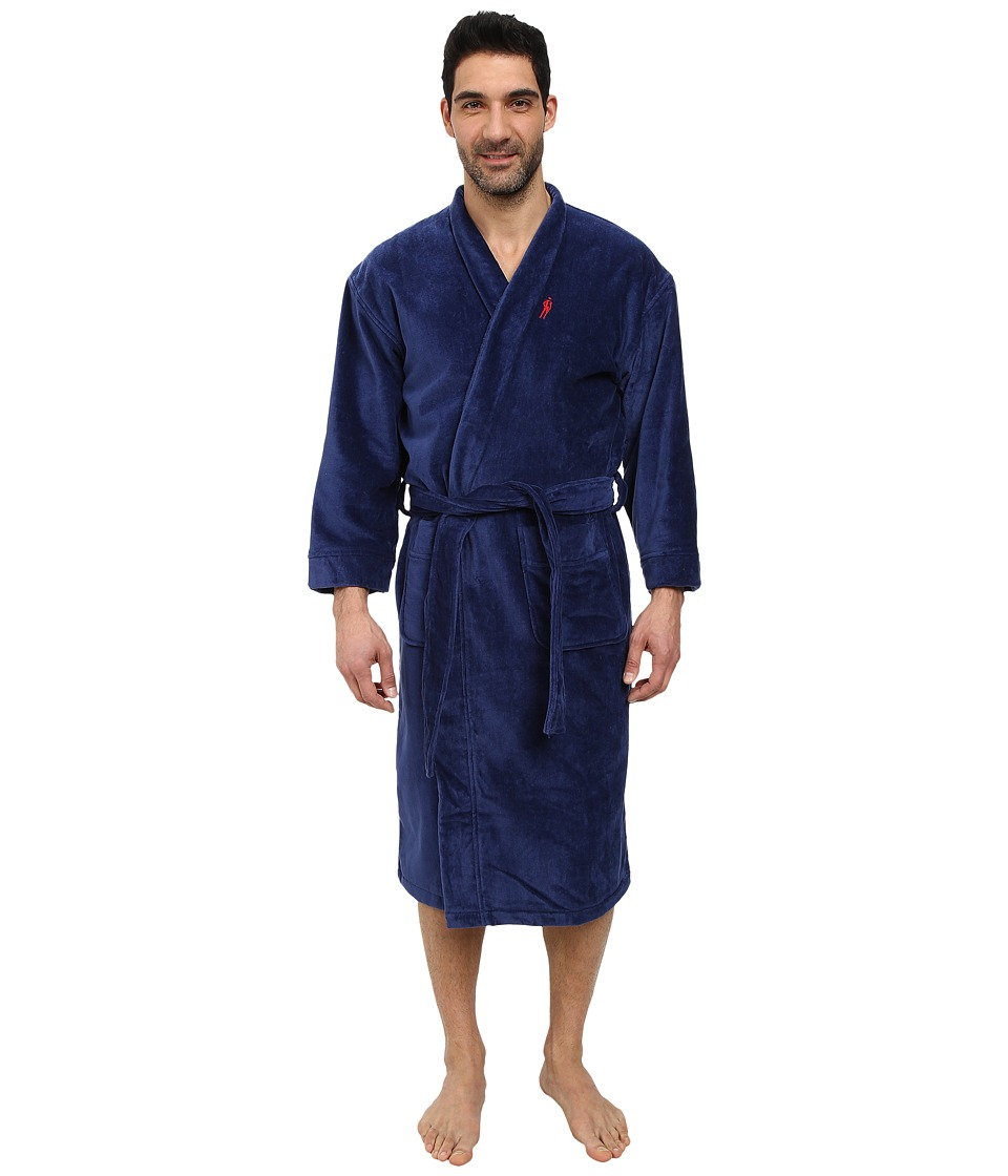 Jockey Terry Velour Solid Robe Navy Mens Robe