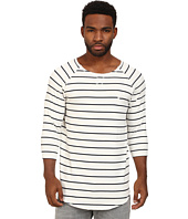 Publish - Paxton Brushed Stripe 3/4 Sleeve Crew with Scallop Bottom
