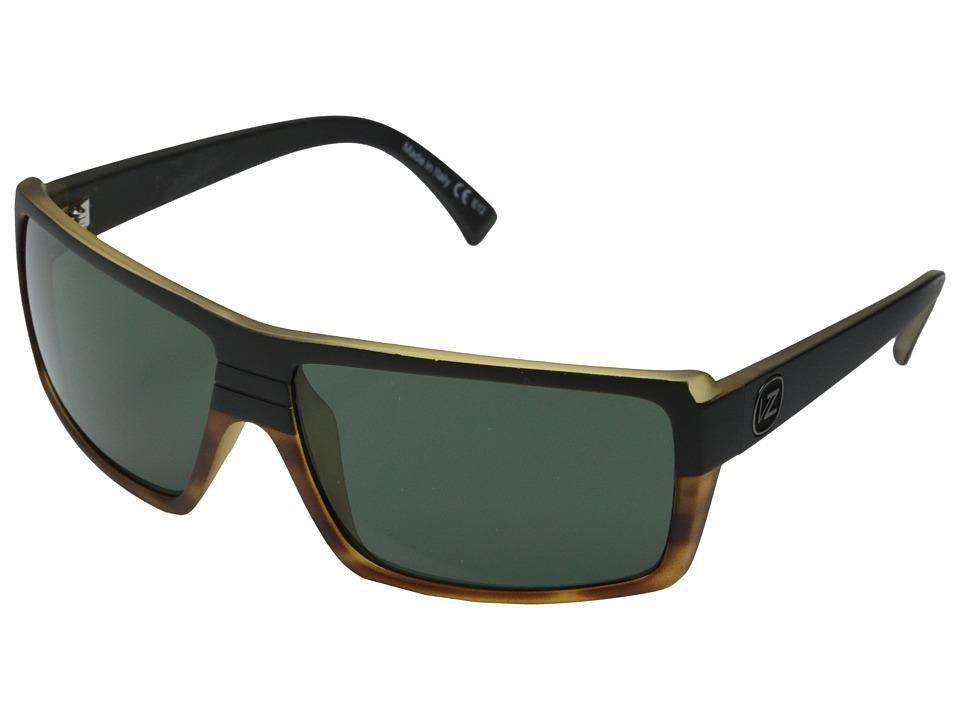 VonZipper Snark (Hardline Black Tortoise/Vintage Grey) Plastic Frame Sport Sunglasses