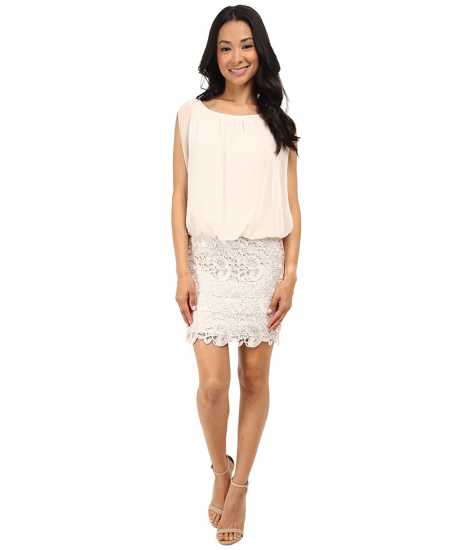 Aidan Mattox Blousson Cocktail Dress with Lace Skirt Champagne Womens Dress