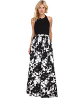 Aidan Mattox - Stretch Halter Top with Printed Ball Skirt
