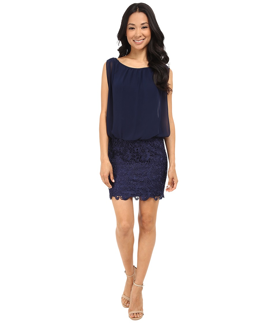Aidan Mattox Blousson Cocktail Dress with Lace Skirt Navy Womens Dress
