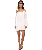 Vix - Sofia by Vix Solid White Open Shoulder Caftan Cover-Up